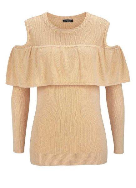 NEU Heine Best Connection Pullover Wickelpullover beige  44 46 48 50