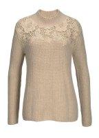 Pullover mit Spitze, beige von Tamaris