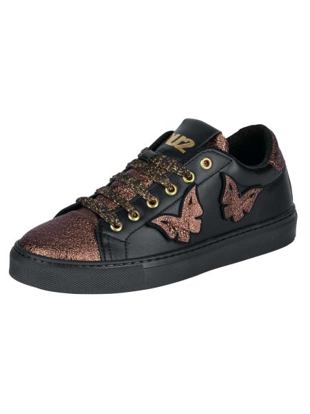 Leder-Sneaker, schwarz-bronzefarben von NU2