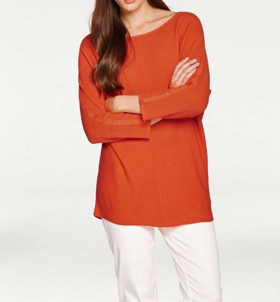 Pullover m. Strass, orange von Ashley Brooke