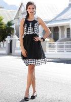 Chiffon-Kleid, schwarz-weiß