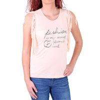 Madonna Top Damen TONYA Tank-Top Shirt mit Fransen...